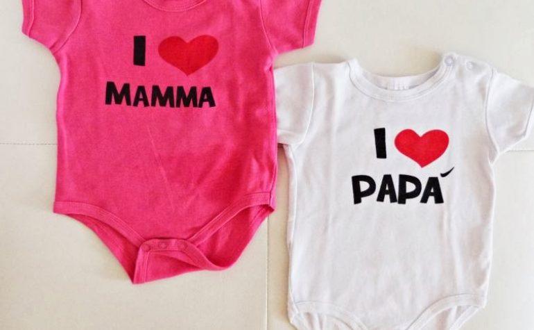 body bebè I love mamma e papà
